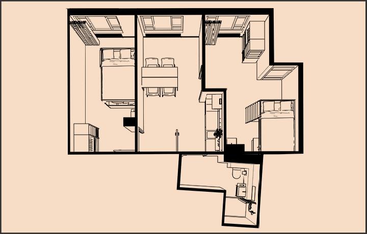 Te huur Wauwhaus maastricht - appartement 2 slaapkamers shoebox